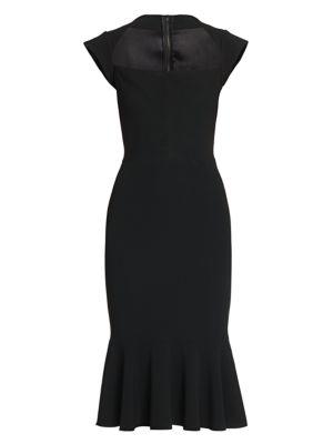 Cady Ruffle-Hem Fitted Midi Dress