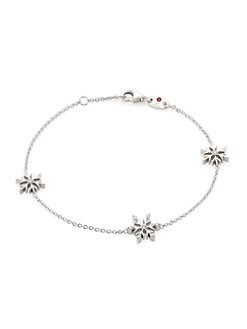 디즈니 겨울왕국2 팔찌 Disneys Frozen 2 x Roberto Coin 18K White Gold & Diamond Snowflake Charm Bracelet,White Gold