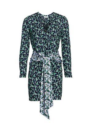 Mixed Print Tie-Front Mini Dress