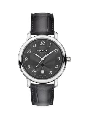 Star Legacy Stainless Steel & Alligator Strap Automatic Date Watch