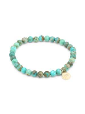 Turquoise, 14K Gold, & Diamond Marquis Eye Bracelet