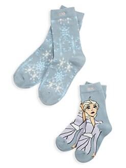 디즈니 겨울왕국2 걸즈 엘사 양말 Pair of Thieves Disneys Frozen 2 Kids & Womens 2-Pack Elsa Snowflake Crew Socks,Dusty Blue