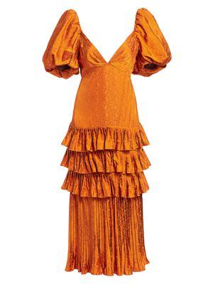 Puff-Sleeve Tiered Ruffle Midi Dress