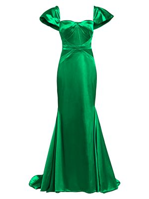 Stretch Satin Short Sleeve Gown