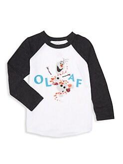 디즈니 겨울왕국2 올라프 티셔츠 Chaser Disneys Frozen 2 Little Kids & Kids Olaf Raglan Baseball Tee,Streaky Grey