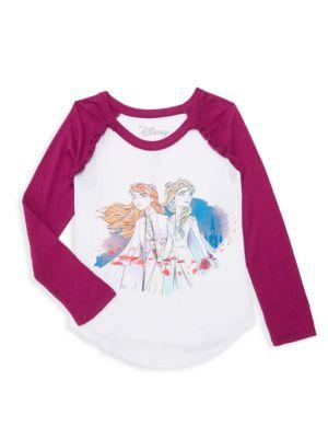 Disney's Frozen 2 Little Girl's & Girl's Elsa & Anna Raglan Baseball Tee