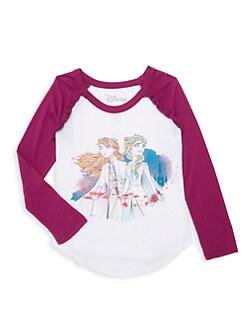 디즈니 겨울왕국2 엘사 안나 티셔츠 Chaser Disneys Frozen 2 Little Girls & Girls Elsa & Anna Raglan Baseball Tee,White Purple