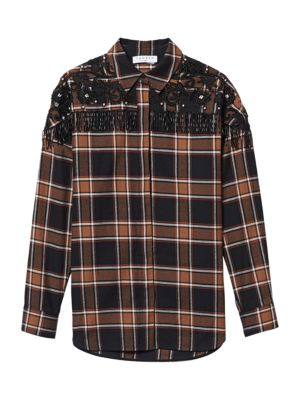Beans Embroidery Check Shirt