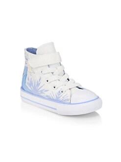 디즈니 겨울왕국2 걸즈 엘사 하이 탑 스니커즈 Disneys Frozen 2 x Converse Baby Girls & Little Girls Elsa High-Top Sneakers,White Blue