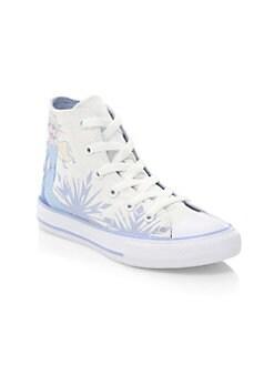 디즈니 겨울왕국2 걸즈 하이 탑 스니커즈 Disneys Frozen 2 x 컨버스 Converse Little Girls & Girls Elsa High-Top Sneakers,White Blue