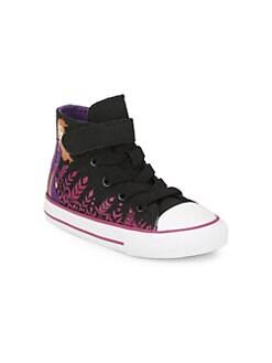 디즈니 겨울왕국2 걸즈 하이 탑 스니커즈 Disneys Frozen 2 x Converse Babys & Little Girls Anna Chuck Taylor High-Top Sneakers,Black Cherry