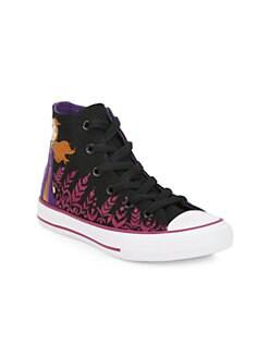 디즈니 겨울왕국2 걸즈 안나 하이 탑 스니커즈 Disneys Frozen 2 x 컨버스 Converse Girls Anna Chuck Taylor High-Top Sneakers,Black Cherry