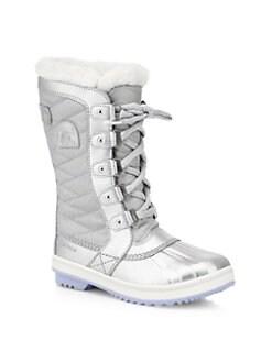 디즈니 겨울왕국2 쏘렐 걸즈 부츠 SOREL Disneys Frozen 2 x Sorel Girls Tofino Faux Fur-Lined Snow Boots,Pure Silver