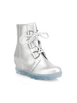 디즈니 겨울왕국2 쏘렐 걸즈 가죽 부츠 SOREL Disneys Frozen 2 x Sorel Girls Joan of Arctic Waterproof Leather Boots,Pure Silver