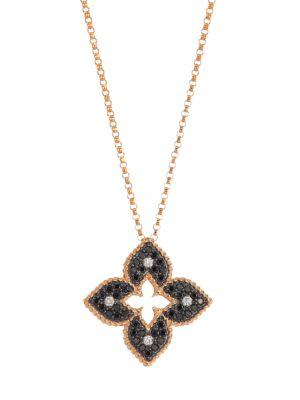 Venetian Princess 18K Rose Gold, Black & White Diamond Petite Pendant Necklace
