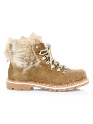 Clara Fox Fur-Trim, Shearling-Lined Suede Hiking Boots