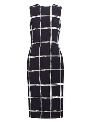 Windowpane Stretch-Crepe Sheath Dress