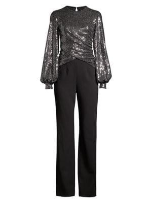 Uno 2-Piece Sequin Puff-Sleeve Top & Crepe Pants Jumpsuit