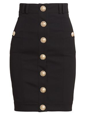 Button Front Pencil Skirt