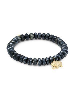 14K Yellow Gold, Black Spinel & Diamond Elephant Charm Beaded Bracelet