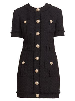 Buttoned Tweed Mini Dress