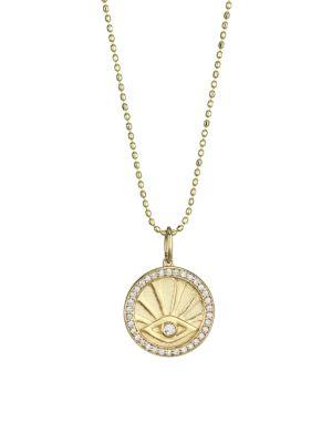 14K Yellow Gold & Diamond Evil Eye Pendant Necklace