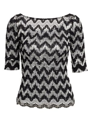 Zig-Zag Squiggle Lace Knit Bateau Top