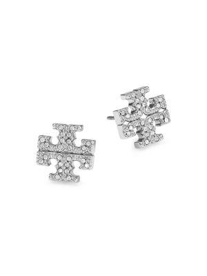 Silvertone Pavé Logo Stud Earrings