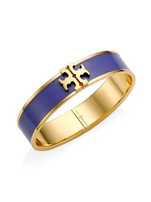 Kira Raised Logo Enamel Hinged Cuff Bracelet