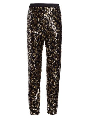 Petite Animal-Print Sequin Pants