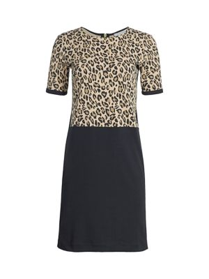 Petite Leopard Bodice Shift Dress