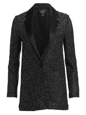 Beaded Knit Tuxedo Jacket