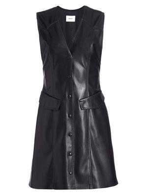Menphi Sleeveless Vegan Leather A-Line Shirtdress