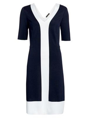 Colorblock Milano Knit Midi Dress
