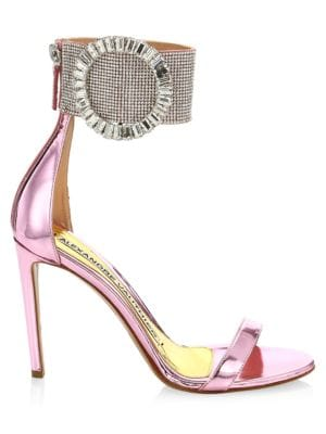 Joan Crystal-Embellished Mirrored Leather Sandals