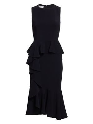 Asymmetric Cascade Ruffle Sheath Dress