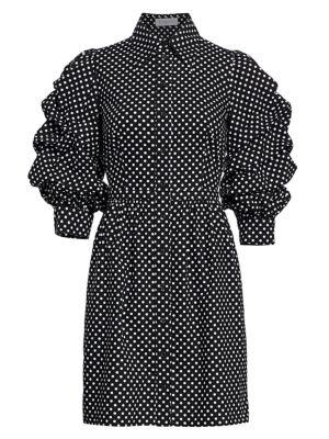 Ruched-Sleeve Cotton Shirt Dress