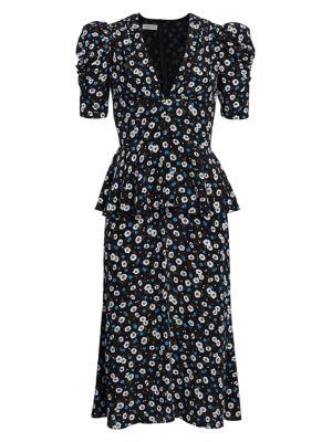 Ruffle-Trimmed Floral Silk Dress