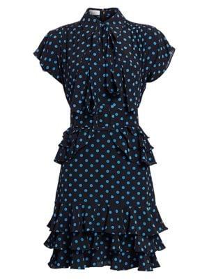 Ruffle-Trimmed Polka Dot Silk Dress