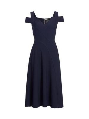 Ebor Cold-Shoulder Crepe Dress