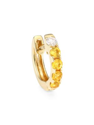 Orb 14K Yellow Gold, Yellow Sapphire & Diamond Single Medium Huggie Earring