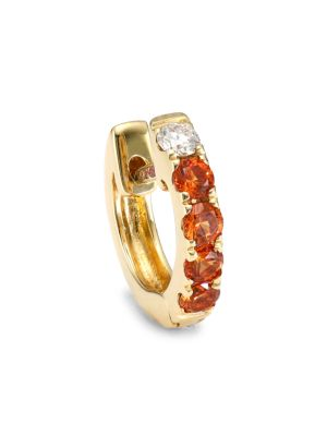 Orb 14K Yellow Gold, Orange Sapphire & Diamond Single Medium Huggie Earring