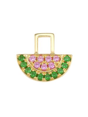 EarWish 14K Yellow Gold, Pink Sapphire & Tsavorite Watermelon Single Earring Charm