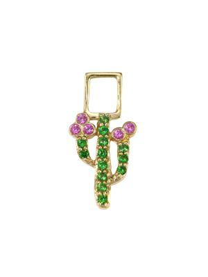 EarWish 14K Yellow Gold, Tsavorite & Pink Sapphire Cactus Single Earring Charm