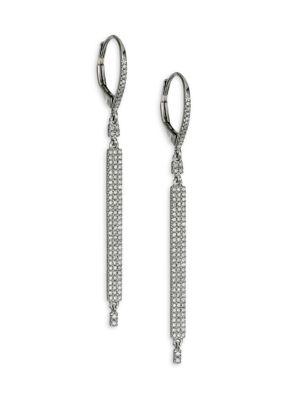 14K White Gold & Diamond Bar Linear Earrings