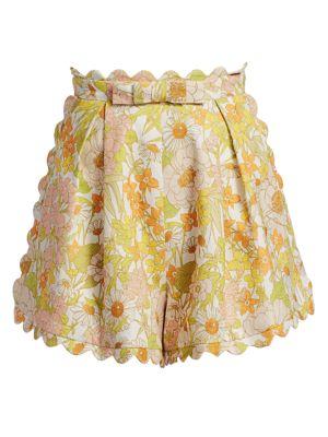 Super 8 Floral Scalloped Linen Shorts