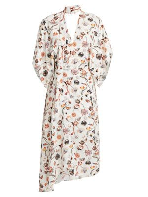 Meyers Painterly Floral Asymmetric Mockneck Dress