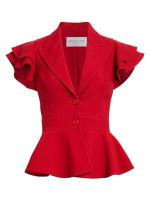 Ruffle-Sleeve Peplum Jacket