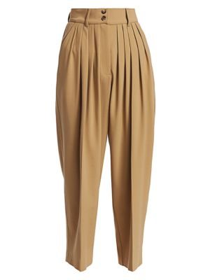 Cropped Pleated Wool Culottes