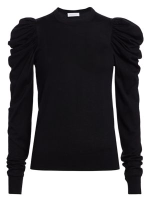 Ruched Puff-Sleeve Cashmere, Wool & Silk Knit Sweater